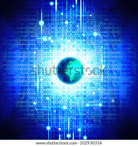 globe with circuit board and technology background - stock photo