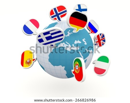 Globe with different flags isolated on white - stock photo