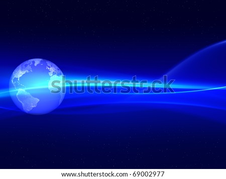 Globe with energy lines. - stock photo