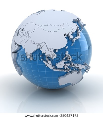 Globe with extruded continents and national borders, Asia and Australia region - stock photo