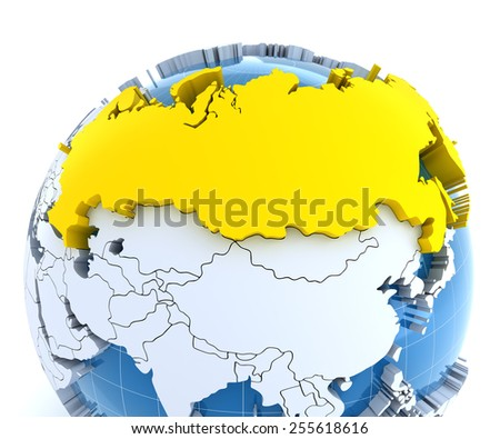 Globe with extruded continents, close-up on Russia, 3d render - stock photo