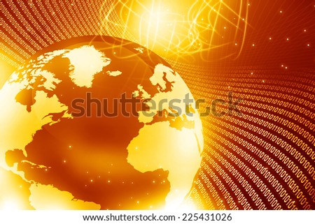 Globe with  fiber optics	 - stock photo