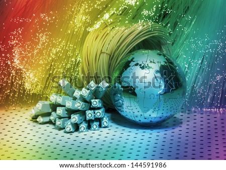 globe with fiber optics cables - stock photo