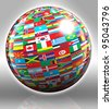 globe with flags with clipping path on grey background - stock vector