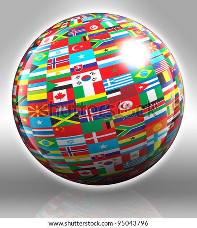 globe with flags with clipping path on grey background - stock photo
