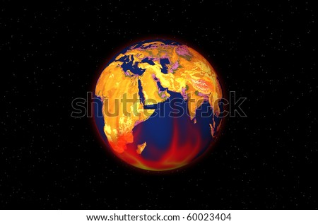 Globe with flame on starry background
