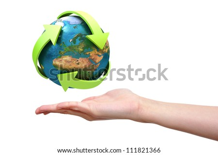 Globe with green arrows presented on female hand? Elements of this image furnished by NASA - stock photo