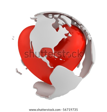 Globe with heart, America part - stock photo