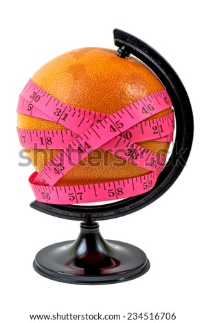 Globe with measurement against a white background  - stock photo