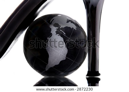 globe with North America continent to be henpecked on whote background - stock photo