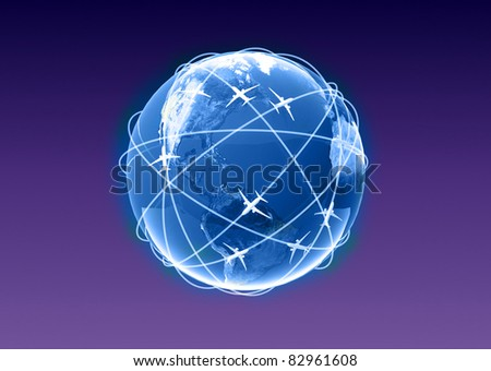 globe with plane - stock photo