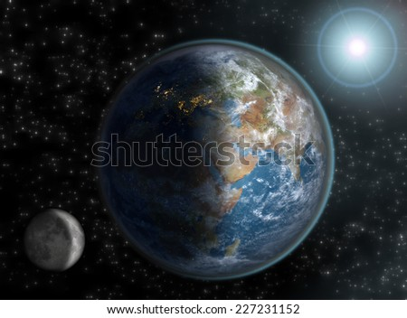 Globe with the European continent in night time, Middle East at day-break and Asia in daylight, with the sun and moon on a starry background. Elements of this image furnished by NASA. - stock photo