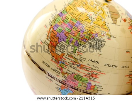 globe with the image of the USA Canada and Mexico on a white background - stock photo