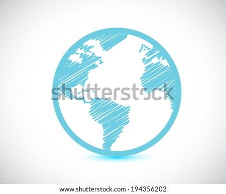 globe world map illustration design over a white background - stock photo