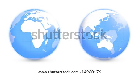 Globes with Africa and APAC regions with  coordinate grid over white - stock photo