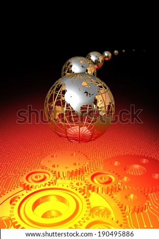 Globes with gears - stock photo