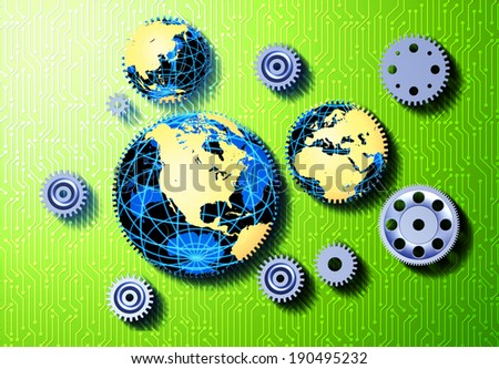 Globes with gears and circuit board - stock photo