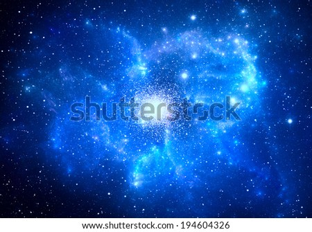 Globular cluster with nebula in the foreground - stock photo