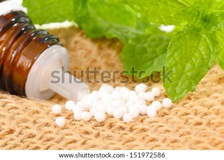 Globules and medicinal herbs - stock photo