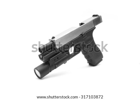 Glock pistol handgun with a white background