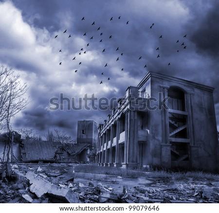 Gloomy apocalypse landscape - stock photo