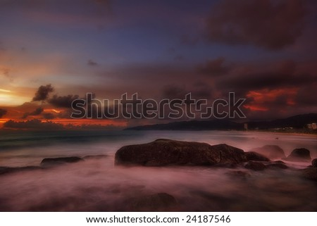 Gloomy clouds around the tropical beach. Andaman sea. Phuket island. Kingdom Thailand - stock photo