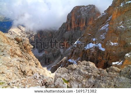 Gloomy clouds over Monte Cristallo, Dolomite Alps, Italy - stock photo