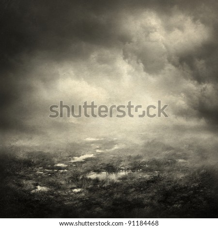 Gloomy landscape - stock photo