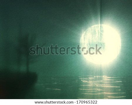 gloomy moonlight - stock photo
