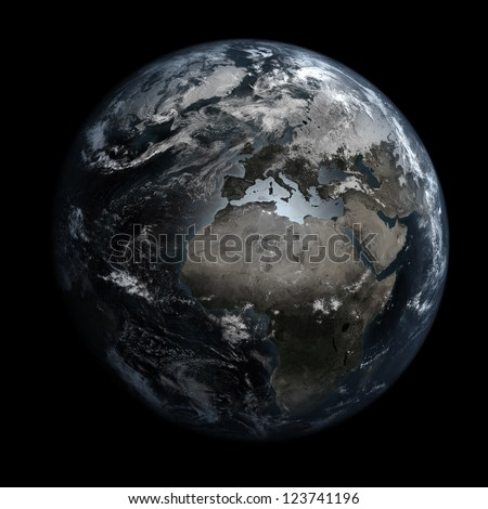Gloomy, polluted Earth. Elements of this image furnished by NASA. Other orientations available. - stock photo