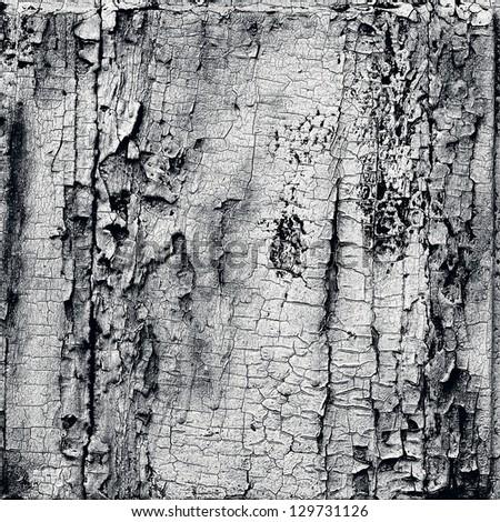 Gloomy wooden rustic background, peeling old paint - stock photo