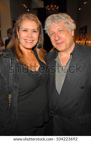 """Gloria Torres and Smokey Miles at Julie Newmar ~A Life in Motion"""" at the David  W. Streets Gallery, Beverly Hills, CA. 11-08-09 EXCLUSIVE - stock photo"""