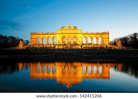 Gloriette at Schonbrunn park by dusk, Vienna, Austria - stock photo