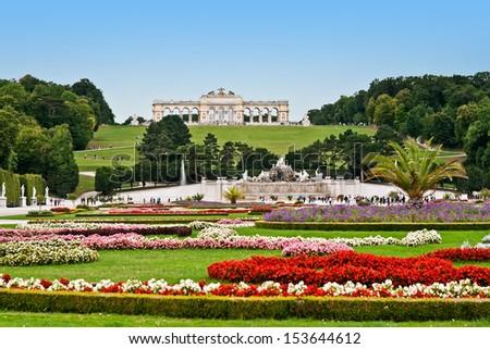 Gloriette in the Schonbrunn garden - stock photo