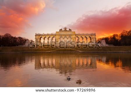 Gloriette Vienna at dusk - stock photo