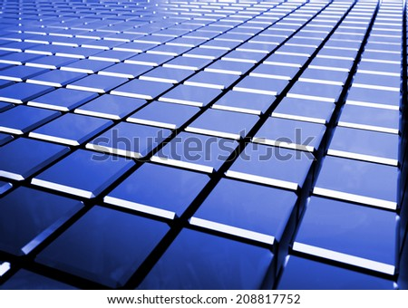 glossy abstract blue background from cubes - 3D render