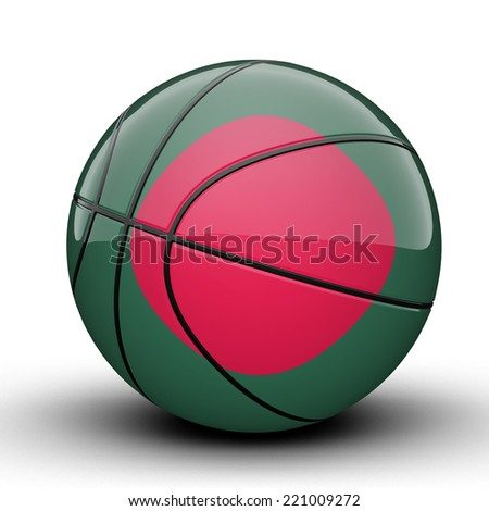 Glossy Bangladesh basketball ball flag isolated on white background - stock photo