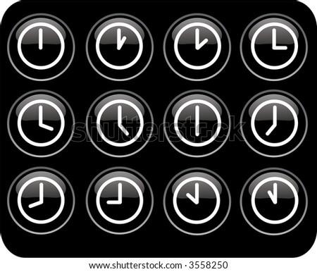 glossy black clocks - stock photo