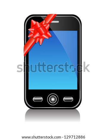 glossy black phone with blue screen and red bow