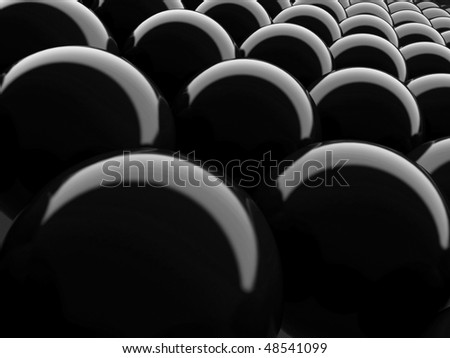 Glossy black sphere background.