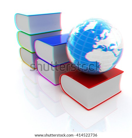 Glossy Books Icon isolated on a white background and earth. 3D illustration. Anaglyph. View with red/cyan glasses to see in 3D. - stock photo