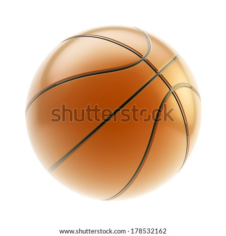 Glossy brown basketball ball 3d render isolated over white background - stock photo