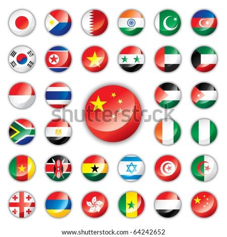 Glossy button flags - Asia & Africa. 32 icons. Original size of China flag in down right corner. JPEG version. - stock photo