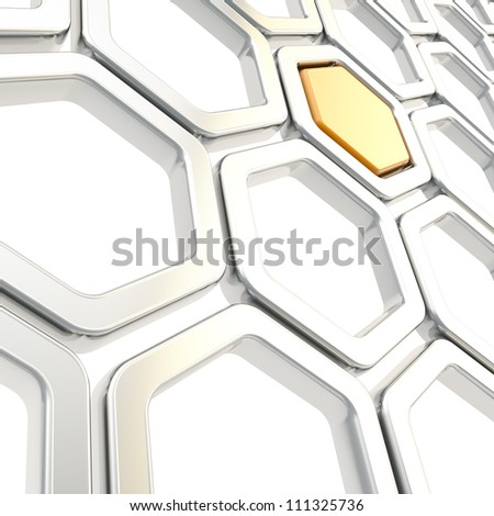 Glossy chrome metal hexagon segments with one orange inside as abstract copyspace background - stock photo