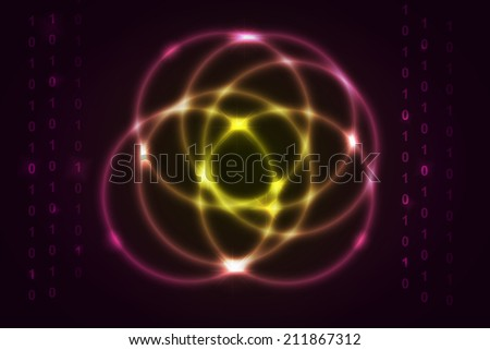 glossy circle with binary code on yellow to pink gradient abstract background