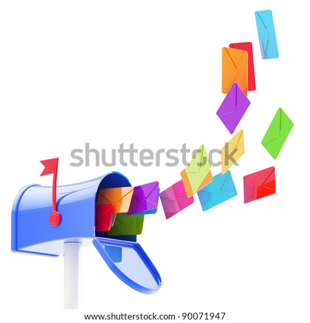 Glossy colorful plastic maibox with a flock of coloured letters flying into it, isolated on white - stock photo