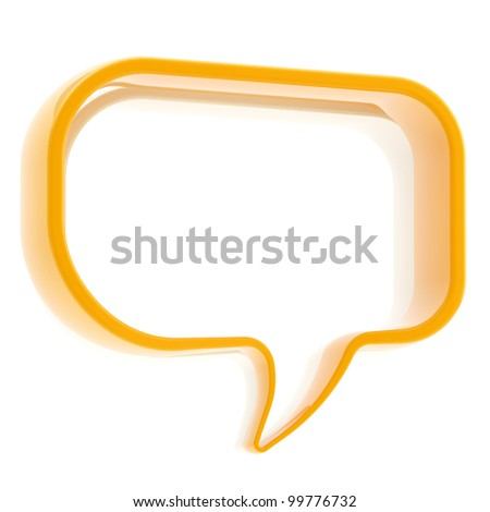 Glossy copyspace text bubble icon banner isolated on white - stock photo