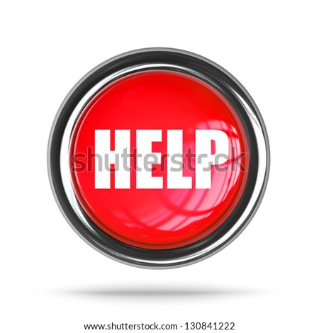 glossy 3D help button in metal frame isolated on white background High resolution - stock photo