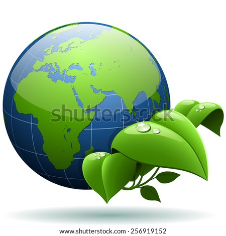 Glossy Earth globe with green leaves isolated on white background. - stock photo
