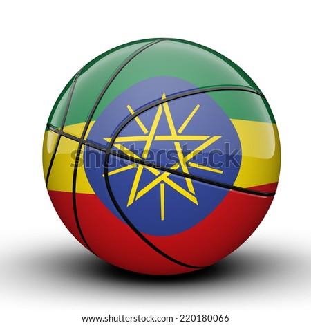 Glossy Ethiopia basketball ball flag isolated on white background - stock photo